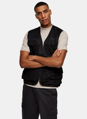 Topman BELLFIELD Black Mesh Organic Cotton Gilet Vest