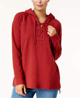 Style&Co. Style & Co Petite Lace-Up-Neck Hoodie, Created for Macy's