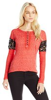 Buffalo David Bitton Women's Bay My Lids Henley with Lace Cutouts and Back