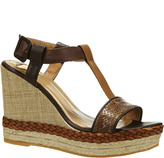 Thumbnail for your product : Kanna Compensées en cuir et paille tissée Jabal