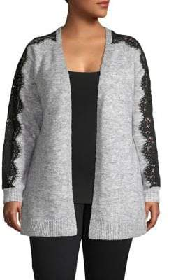 Vero Moda Curve Plus Open-Front Lace-Sleeve Cardigan