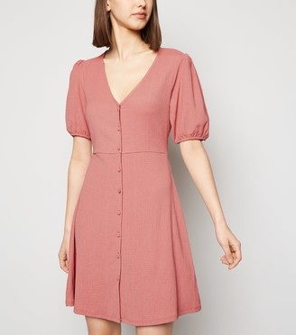 New Look Mid Crinkle Button Front Mini Dress