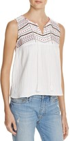 Freeway Embroidered Gauze Back Cutout Top