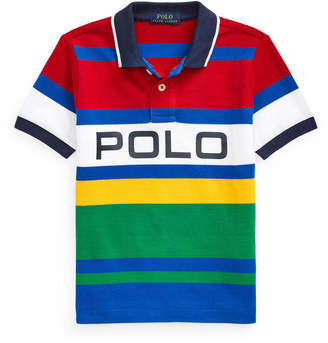 Ralph Lauren Kids Boy's Logo Colorblock Striped Polo Shirt, Size 2-4