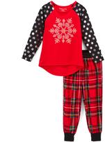Komar Kids Red Plaid & Black Polka Dot Snowflake Pajama Set - Girls