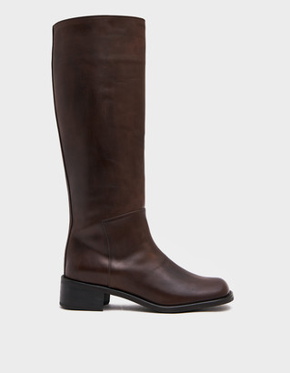 AMOMENTO Women's Long Boot in Brown, Size 7   Leather/Rubber