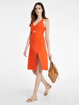 Halston Structured Dress With Front Cut Out