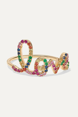 Sydney Evan Large Love 14-karat Gold Multi-stone Ring