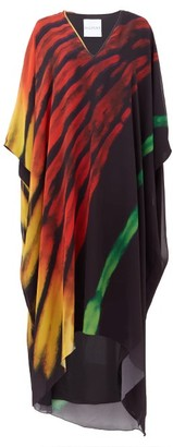 Halpern Flame Brushstroke-print Chiffon Kaftan Dress - Black Print