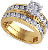 Beautiful Beginnings Diamond Halo Engagement Ring and Wedding Band Set (1/3 ct. t.w.) in 14k Gold and White Gold