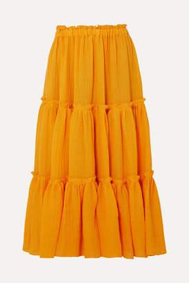 Lisa Marie Fernandez Tiered Linen-blend Gauze Midi Skirt - Orange