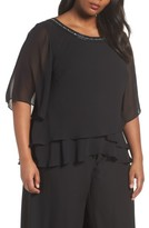 Alex Evenings Plus Size Women's Embellished Tiered Chiffon Blouse