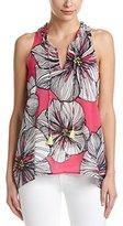 Trina Turk Women's Blaise Agean Floral Stretch Silk Georgette Sleeveless Top