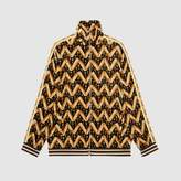 Gucci Chevron daisy velvet oversize jacket