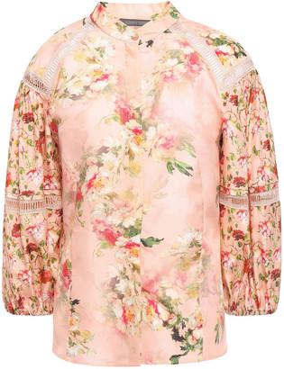 Alberta Ferretti Gathered Lace-trimmed Floral-print Silk-satin Blouse