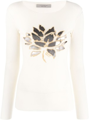 D-Exterior Metallic-Leaf Print Top