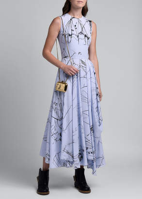 Alexander McQueen Dancing Girl Print Silk Dress, Blue