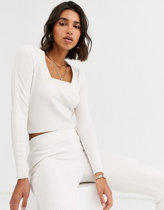 ASOS DESIGN Lounge co-ord square neck jumper with woven detail