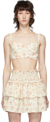 Wandering White and Pink Floral Bustier