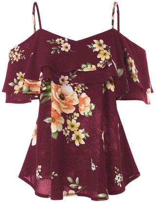 Shobdw Women's Clothes Womens T-Shirts SHOBDW Women Sexy Floral Printing Off Shoulder Chiffon Shirt Sleeveless Summer Beach Vest Tank Tops Blouse (10