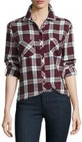 Soft Joie Lilya Long-Sleeve Button-Front Plaid Top, Deep Garnet