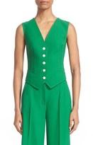 Dolce & Gabbana Women's Banana Leaf Back Print Stretch Wool & Silk Vest