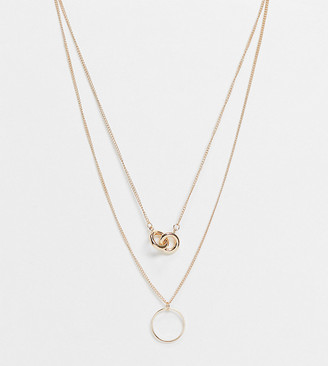 ASOS DESIGN Curve multirow necklace with knot pendant and open circle in gold tone