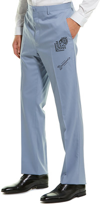 Lanvin Straight Embroidery Wool-Blend Pant