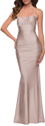 La Femme Shiny Jersey Halter Mermaid Gown