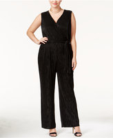 NY Collection Petite Plus Size Surplice Pleated Wide-Leg Jumpsuit