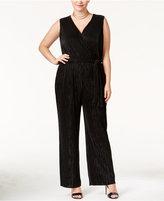 NY Collection Plus Size Surplice Wide-Leg Jumpsuit
