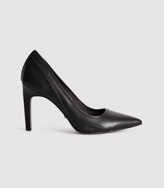 Reiss Maddy - Snake Detailed Leather Court Shoes in Black