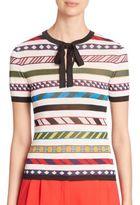 Mary Katrantzou Regine Short-Sleeve Tie-Neck Striped Top
