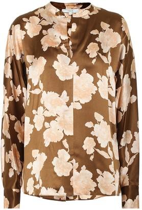 Vince Floral silk satin blouse