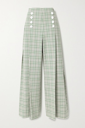 Rosie Assoulin Pleated Checked Cotton-blend Canvas Wide-leg Pants - Green