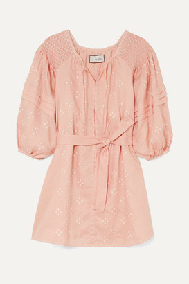 Innika Choo Hans Ufmafrok Smocked Embroidered Linen Mini Dress - Peach