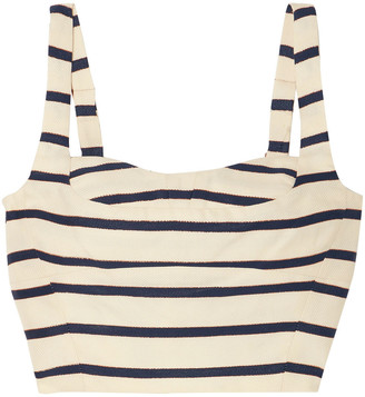 Veronica Beard Gina Metallic Striped Cotton-canvas Bustier Top
