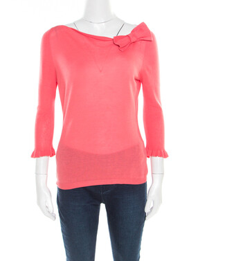 RED Valentino Pink Knit Bow Detail Long Sleeve Top M