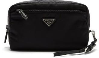Prada Leather-trimmed Nylon Wash Bag - Black