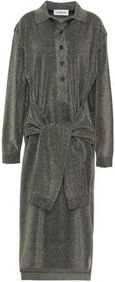 Lanvin Tie-front Cotton-blend Lame Midi Dress