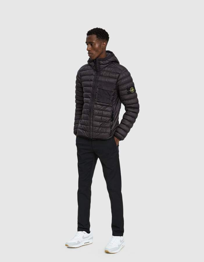 Stone Island Garment Dyed Micro Yarn Down Hooded Jacket in Anthracite
