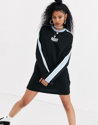The Ragged Priest relaxed t-shirt dress with front logo and contrast stripe-Black