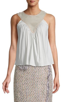 Milly Gathered Silk Tank Top