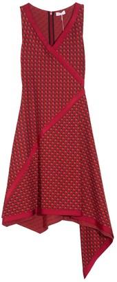 Rosetta Getty Bordered Scarf Jacquard Dress in Multi/Red