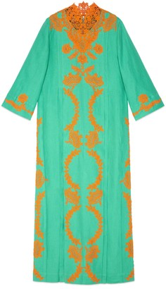 Gucci Linen long kaftan dress with lace