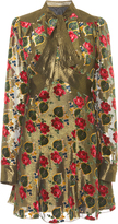 Anna Sui Tossed Roses Metallic mini Dress