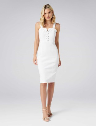 Forever New Abbie Lace-Up Denim Dress - White - 14