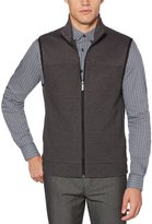 Perry Ellis Big & Tall Textured Knit Full-Zip Vest