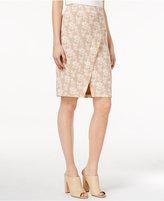 Kensie Printed Faux-Wrap Skirt