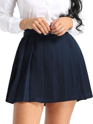 YOOJIA Women's Schoolgirls Japanese Ruffled Pleated Skirt High Waist A-line Mini Uniform Dress Black&White 2X-Large